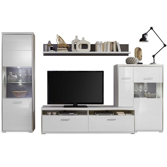 Libya Living Room Set 6 In White High Gloss With Led