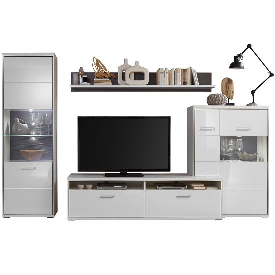 Libya Living Room Set 6 In White High Gloss With LED Lighting_2