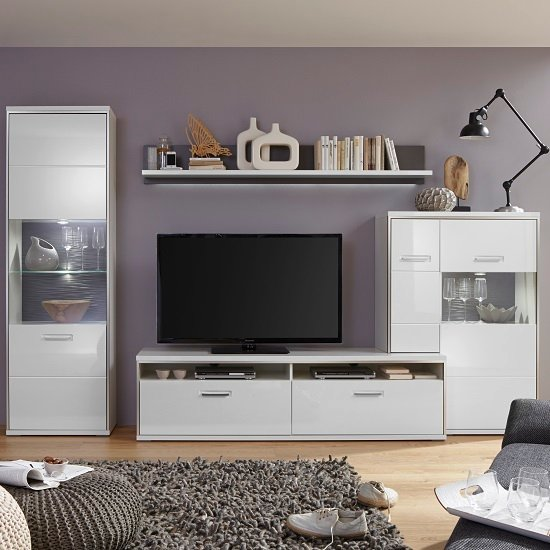 Image of Libya Living Room Set 6 In White High Gloss With LED Lighting