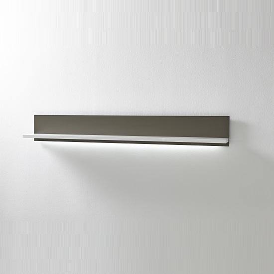 Libya Wide Wall Mount Display Shelf In White Gloss Grey With Led 1