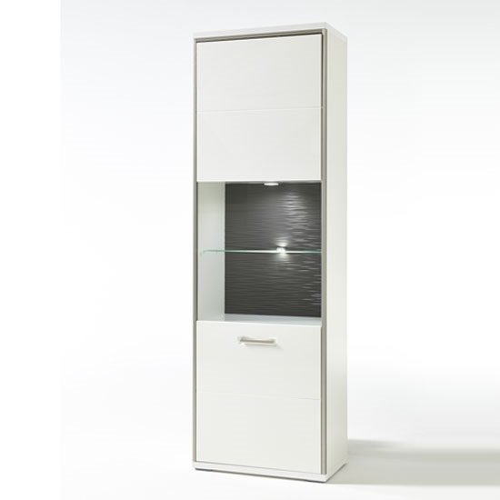Libya Glass Left Display Cabinet In White Gloss And LED Lighting_2