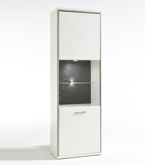 Libya Right Glass Display Cabinet In White Gloss And LED Lights_2