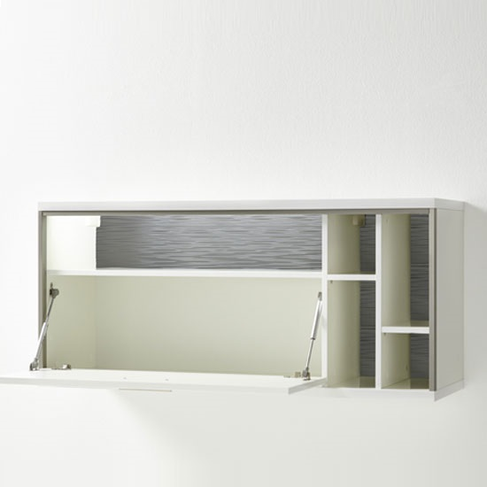 Libya Wall Mounted Display Cabinet In White Gloss With LED Light_3