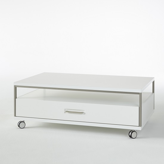 Libya Coffee Table In White High Gloss With 1 Drawer And 1 Shelf