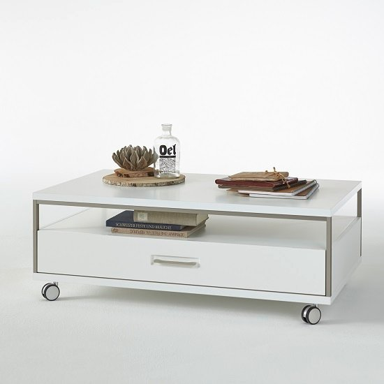 Libya Coffee Table In White High Gloss With 1 Drawer And 1 Shelf_2
