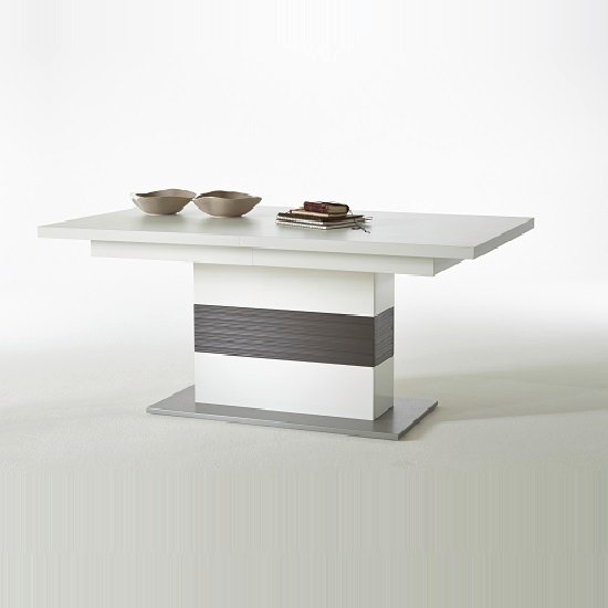 Libya Pedestal Extendable Dining Table In White With Grey Base_2