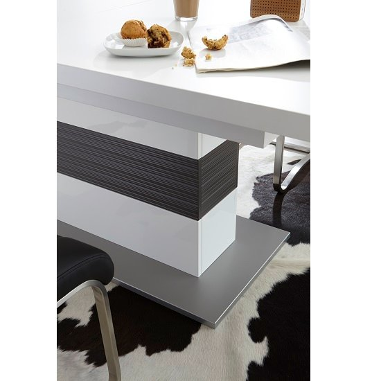 Libya Pedestal Extendable Dining Table In White With Grey Base_6