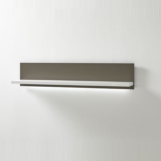 Libya Wall Mount Display Shelf In White Gloss And Grey With LED