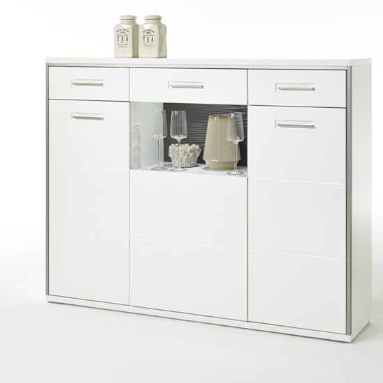 Libya Glass Highboard In White Gloss With 3 Doors And LED Lights