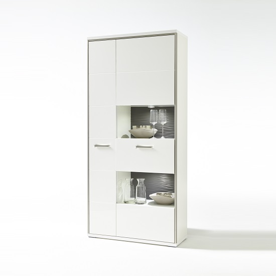 Libya Large Glass Display Cabinet In White Gloss And LED Lights