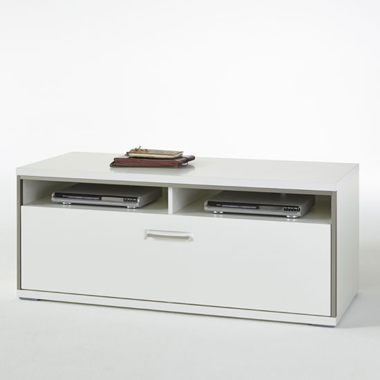 Libya LCD TV Stand In White High Gloss With 1 Drawer
