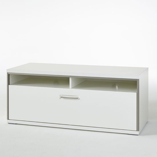 Libya LCD TV Stand In White High Gloss With 1 Drawer_2