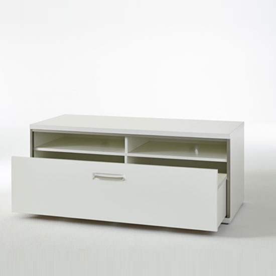 Libya LCD TV Stand In White High Gloss With 1 Drawer_3