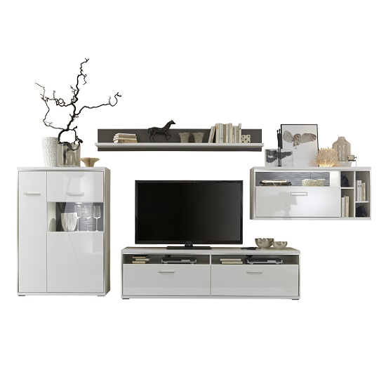 Libya living room set 1 in white high gloss with led for High gloss living room furniture sets