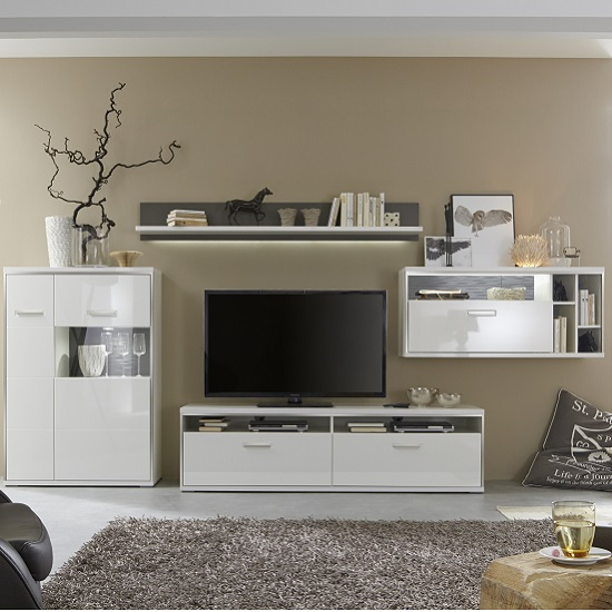 Image of Libya Living Room Set 1 In White High Gloss With LED Lighting