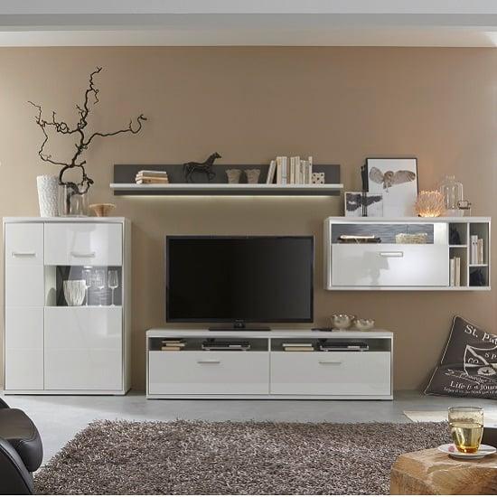 Libya Living Room Set 1 In White High Gloss With LED Lighting