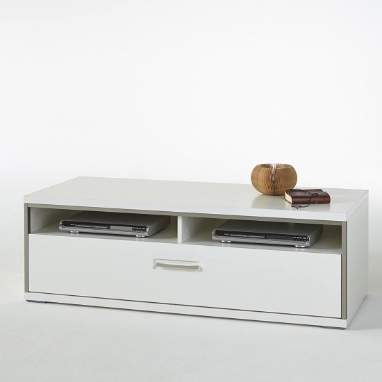 Libya Small LCD TV Stand In White High Gloss With 1 Drawer