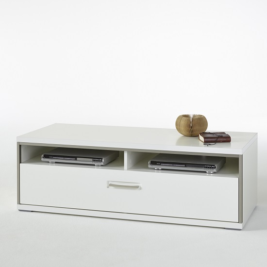 . Enox Large TV Stand In White High Gloss With 4 Sliding Doors   Fu