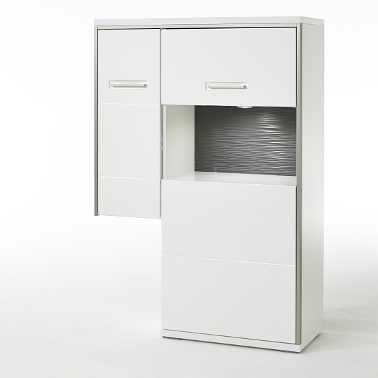 Libya Right Corner Glass Highboard In White Gloss And LED Lights