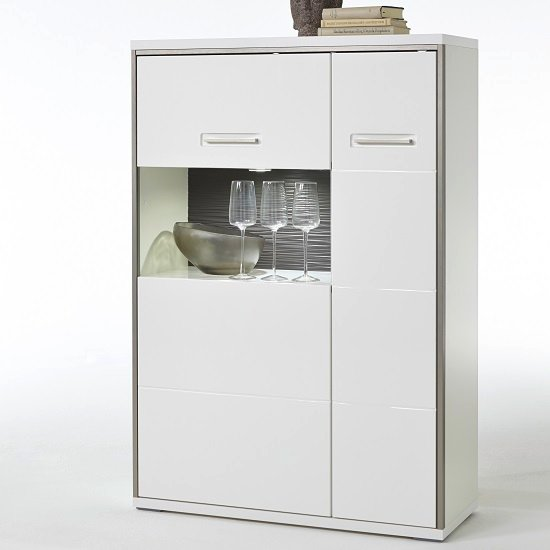 Libya Right Glass Highboard In White Gloss And LED Lighting_2