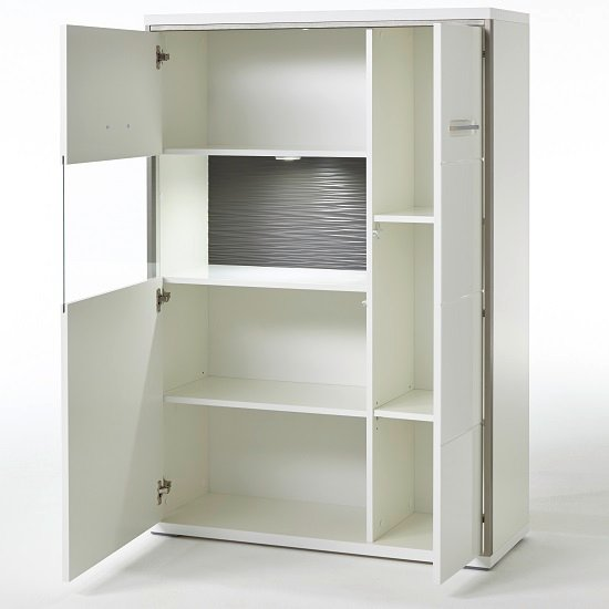 Libya Right Glass Highboard In White Gloss And LED Lighting_3
