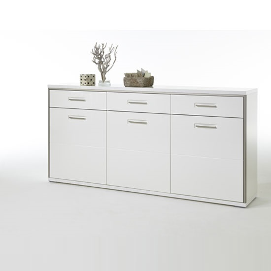Libya Sideboard In White Gloss Front With 3 Doors And 3 Drawers_2