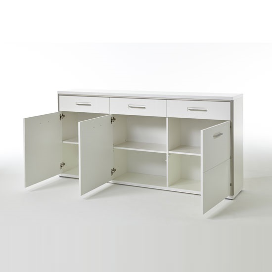 Libya Sideboard In White Gloss Front With 3 Doors And 3 Drawers_3