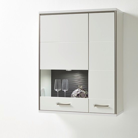 Libya Glass Wall Mounted Display Cabinet In White Gloss With LED