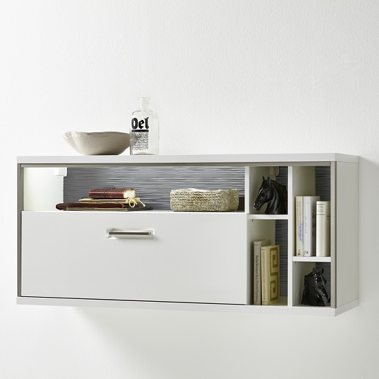 Libya Wall Mounted Display Cabinet In White Gloss With Led