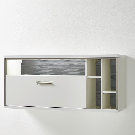 Libya Wall Mounted Display Cabinet In White Gloss With LED Light