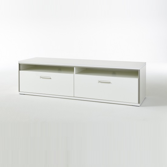 Libya Wide LCD TV Stand In White High Gloss With 2 Drawer_2