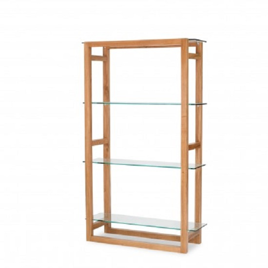 Tribe Bookcase In Solid White Oak With Clear Glass Shelves