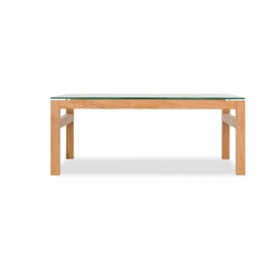 Tribe Glass Coffee Table In Clear With Solid White Oak Frame_2