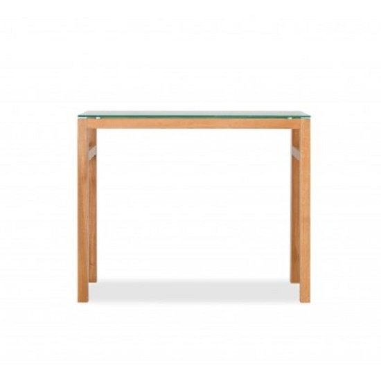 Tribe Glass Console Table In Clear With Solid White Oak Frame_2