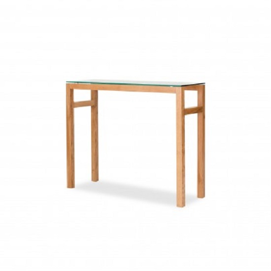 Tribe Glass Console Table In Clear With Solid White Oak Frame_1