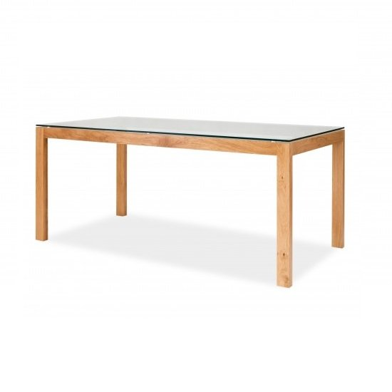 Tribe Glass Dining Table In Clear With Solid White Oak Frame