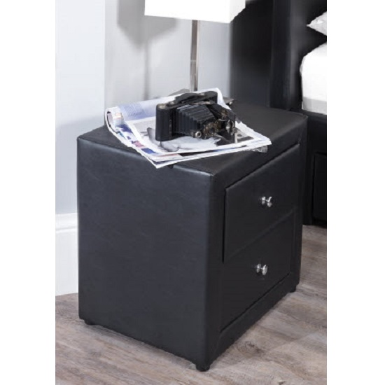 Casper bedside cabinet in black faux leather with 2 for Funky bedside cabinets