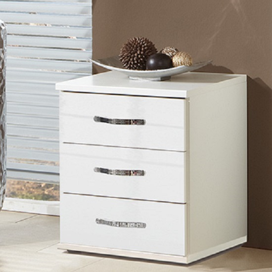 Luton bedside cabinet in high gloss alpine white with 3 for Funky bedside cabinets