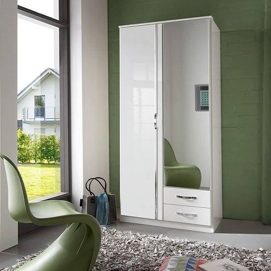 Luton Mirror Wardrobe In High Gloss Alpine White With 2 Doors