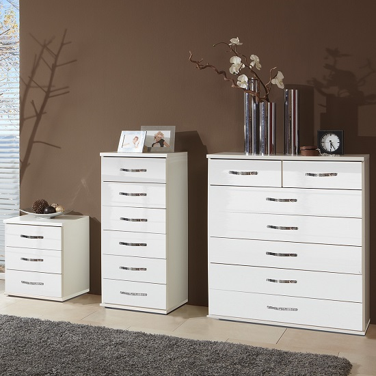 Luton Bedside Cabinet In High Gloss Alpine White With 3 Drawers_2