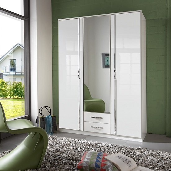 Luton Mirror Wardrobe In High Gloss Alpine White With 3 Doors