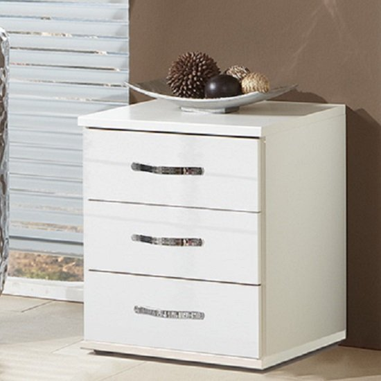 Luton Bedside Cabinet In High Gloss Alpine White With 3 Drawers_1