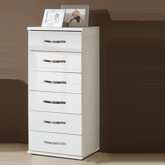 Luton Chest of Drawers Tall In High Gloss Alpine White_1