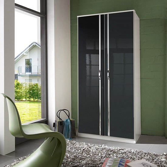 Luton Wardrobe In High Gloss Black Alpine White With 2 Doors