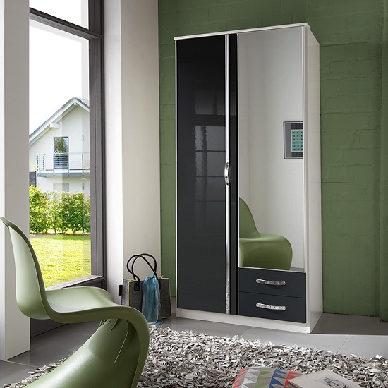 Luton Mirror Wardrobe In Gloss Black Alpine White With 2 Doors