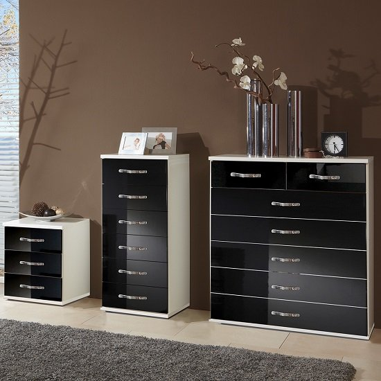Luton Wide Chest of Drawers In High Gloss Black Alpine White_2