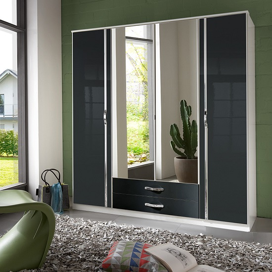 Luton Mirror Wardrobe In Gloss Black Alpine White With 3 Doors