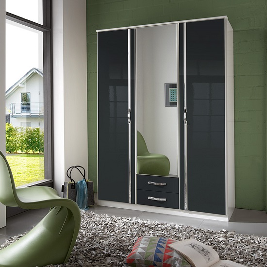 Luton Mirror Wardrobe In Gloss Black Alpine White With 3 Doors_1