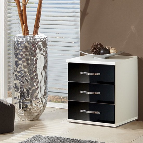 Luton Bedside Cabinet In High Gloss Black And Alpine White_1