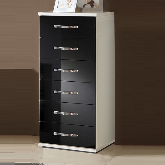 Luton Chest of Drawers Tall In High Gloss Black Alpine White
